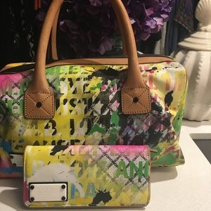 L.A.M.B paint splatter satchel w/matching wallet